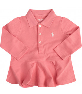 RALPH LAUREN KIDS Pink dress with white iconic pony
