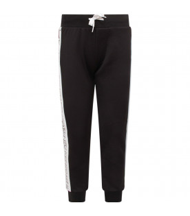 KENZO KIDS Black pants with white striped