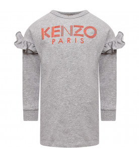 KENZO KIDS Grey girl dress with red logo