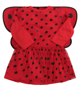 STELLA MCCARTNEY KIDS Red dress with black polka dots and wings