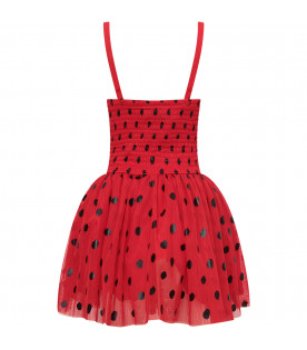 STELLA MCCARTNEY KIDS Red girl dress witj black polka dots and wings