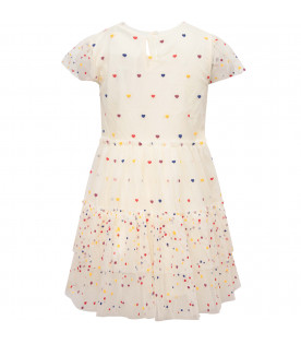 STELLA MCCARTNEY KIDS Ivory girl dress with colorful polka dots and hearts