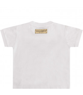 DOLCE & GABBANA KIDS White T-shirt with black logo and red hearts