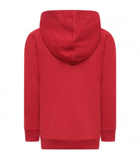 DOLCE & GABBANA KIDS Red girl sweatshirt with colorful patches