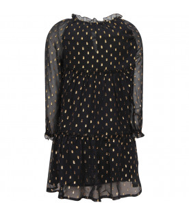 STELLA MCCARTNEY KIDS Black girl dress with colorful polka dots and hearts