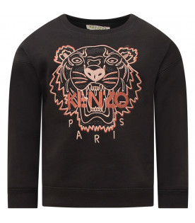KENZO KIDS Black girl sweatshirt with bronze iconic roaring tiger