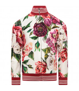 DOLCE & GABBANA KIDS Ivory girl sweatshirt with collorful all-over peonie