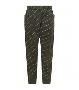TINYCOTTONS Green pants with white diagonal stripes