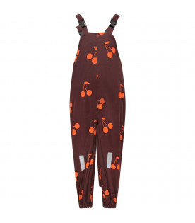 TINYCOTTONS Plum girl snow dungarees with orange cherries