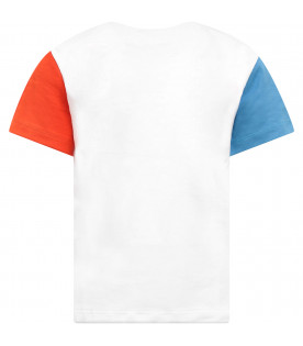KENZO KIDS White boy T-shirt with colorful logo