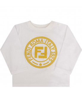 FENDI KIDS White T-shirt with yellow logo