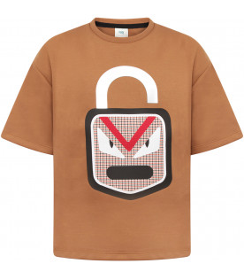 FENDI KIDS Maxi T-shirt bambino marrone con patch colorato