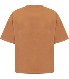 FENDI KIDS Brown boy maxi T-shirt with colorful patch