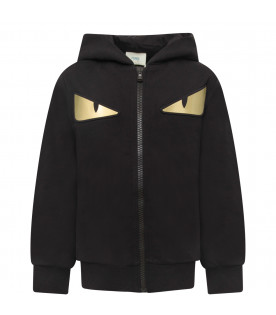 FENDI KIDS Black boy sweatshirt with colorful iconic eyes