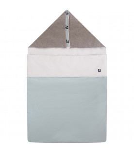 FENDI KIDS White, grey and light blue sleeping bag with blue double FF