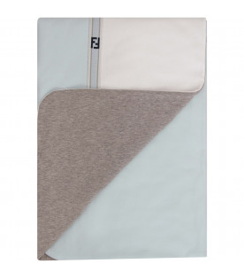 FENDI KIDS White and light blue blanket with blue double FF