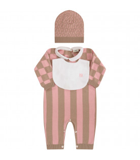 FENDI KIDS Beige and pink set with iconic double FF
