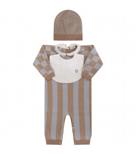 FENDI KIDS Beige and light blue set with iconic double FF
