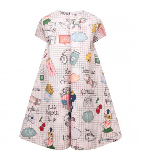 FENDI KIDS Pink girl dress with black bows