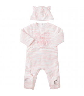 KENZO KIDS White suit with pink tiger skin print
