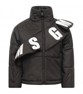 MSGM KIDS Black girl bomber jacket with ruffle