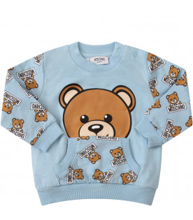MOSCHINO KIDS Light blue suit with icoinc Teddy Bear with black logo