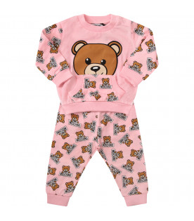 MOSCHINO KIDS Pink suit with icoinc Teddy Bear with black logo