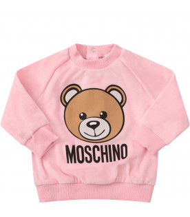 MOSCHINO KIDS Pink trancksuit with colorful iconic Teddy Bear