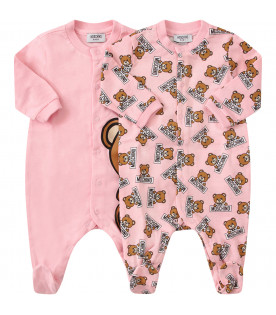 MOSCHINO KIDS Set rosa composto da due tutine