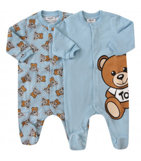 MOSCHINO KIDS Light blue suit composed with two babygrows