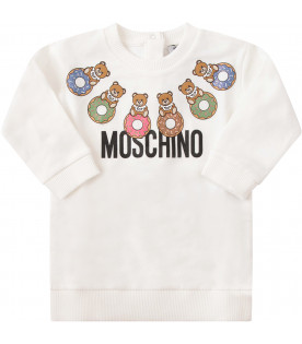 MOSCHINO KIDS White dress with colorful Teddy Bears with donuts and black logo