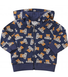 MOSCHINO KIDS Blue sweatshirt with colorful all-over Teddy Bear with black logo