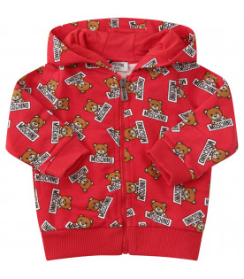 MOSCHINO KIDS Red sweatshirt with colorful all-over Teddy Bear with black logo