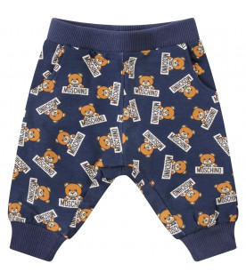 MOSCHINO KIDS Pantalone blu con Teddy Bear colorato con logo nero