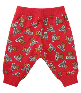 MOSCHINO KIDS Red sweatpants with colorful all-over Teddy Bear with black logo