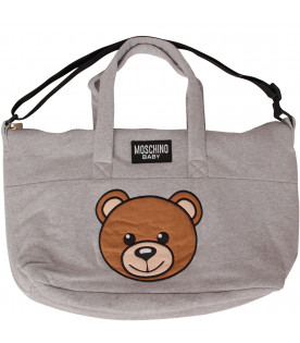 MOSCHINO KIDS Grey changing bag with Teddy Bear