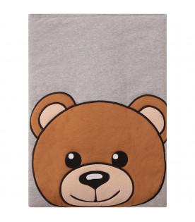MOSCHINO KIDS Grey blanket with colorful Teddy Bear
