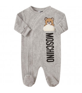 MOSCHINO KIDS Grey babygrow with colorful Teddy Bear and white cloud