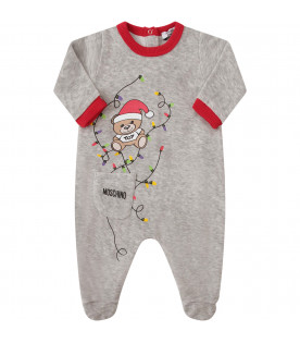 MOSCHINO KIDS Grey suit with Teddy Bear with red Santa hat