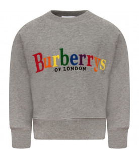 BURBERRY KIDS Melanged grey sweatshirt with rainbow logo