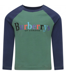 BURBERRY KIDS Green and blue t-shirt with logo