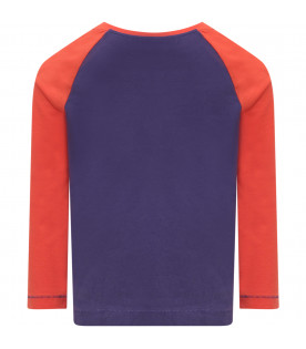 BURBERRY KIDS Purple and red t-shirt with logo