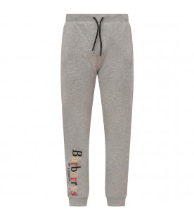 BURBERRY KIDS Melanged  grey boy pants with multicolor logo