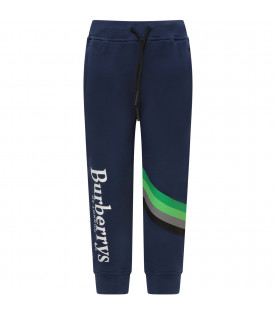 BURBERRY KIDS Blue boy pants with white logo