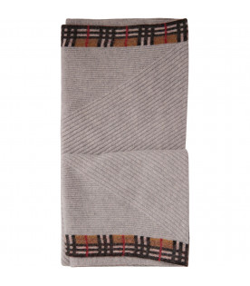 BURBERRY KIDS Grey blanket with tartan check