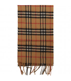 BURBERRY KIDS Tartan check scarf with rainbow logo
