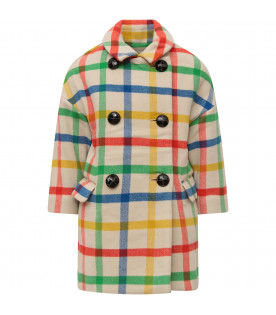 BURBERRY KIDS Cappotto bambina avorio a quadri multicolor