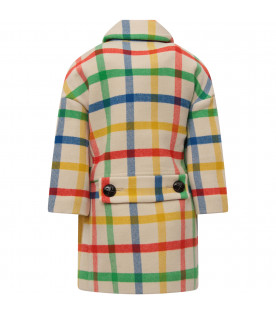 BURBERRY KIDS Ivory girl coat with colorful check