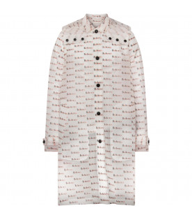 BURBERRY KIDS Trasparent car coat with all.over logo