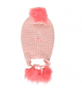 BILLIEBLUSH Pink hat with neon-pink pom-pom